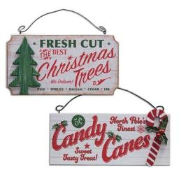 Bright Ideas Fresh Cut Christmas Trees & North Pole Candy Canes - Set of 2 Wood Hanging Signs - Country Rustic Distressed Christmas Sign Ornament
