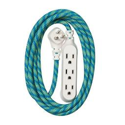 360 Electrical 360424 Habitat Accent Braided Extension Cord, 8 ft. - Mint Julep