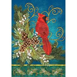 """"""" Winter Cardinal """" - Double Sided, Garden Size, 12 Inch X 18 Inch Decorative Flag"""