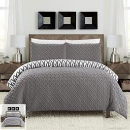 Chic Home 3 Piece Ora Heavy Embossed and Embroidered Quilted Geometrical Pattern Reversible Printed Queen Comforter Set Grey