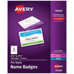 """Avery Pin Style Name Badges, Print or Write, 2-1/4"""" x 3-1/2"""", Pins Securely, 100 Inserts & Pin Badge Holders (74549), White"""