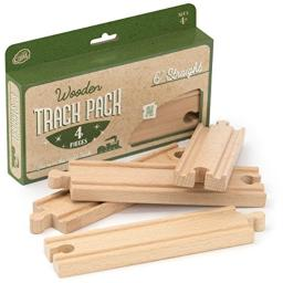 """4-piece 6"""" Straight Wooden Train Track Value Booster Pack - Compatible with All Major Toy Train Brands by Conductor Carl"""