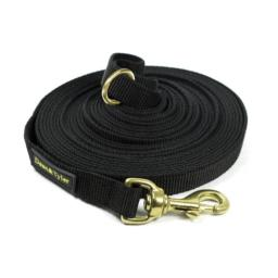 Dean & Tyler Track Single Ply Black Nylon 100-Feet by 3/4-Inch Dog Leash with a Ring on Handle and Solid Brass Snap Hook