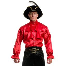 Charades Men's Pirate Captain Shirt, red, Small