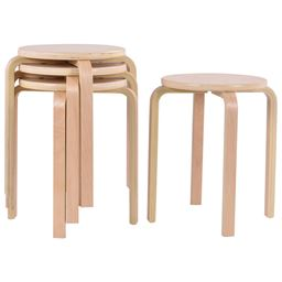 Set of 4 Wood Children Dining Stools