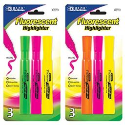 BAZIC Desk Style Fluorescent Highlighters (4/Pack), Box Pack of 24