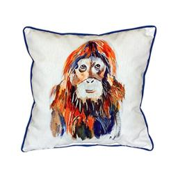 "Betsy Drake Orangutan Indoor/Outdoor Pillow, 18"" x 18"""