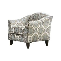 Contemporary Style Padded Sofa Arm Chair In Solid Wooden Frame, White & Gray