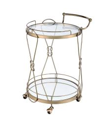 Serving Cart with 2 Glass Shelves and Caster Support, Gold and Clear