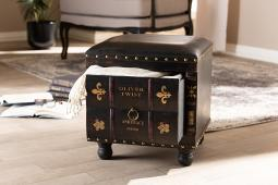 Baxton Studio Charlier Rustic Antique Inspired Dark Brown Faux Leather Upholstered Wood Storage Ottoman with Book Spine Drawer