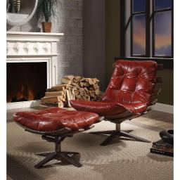 Faux Leather Upholstered Chair and Ottoman with Metal base, Pack Of Two, Red