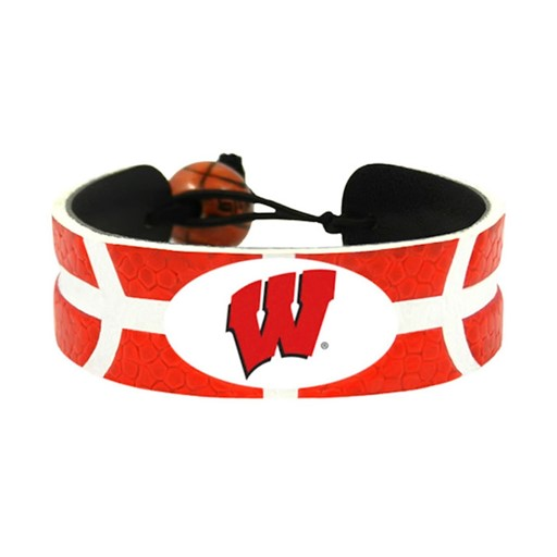 Sports Team Logo Wisconsin Badgers Team Color NCAA Gamewear Leather Basketball Bracelet