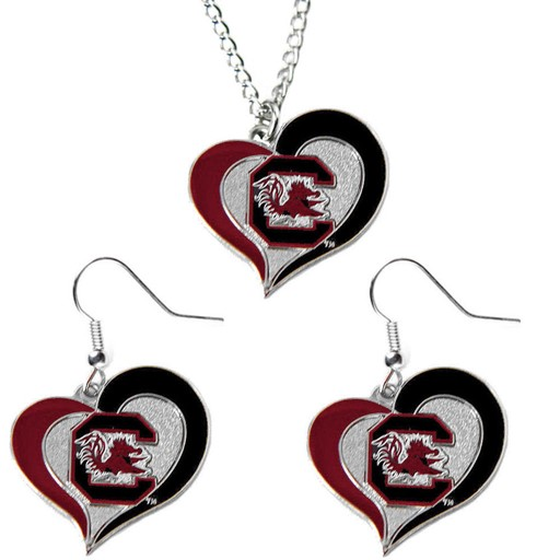 Sports Team Logo South Carolina Gamecocks Swirl Heart Dangle Logo Necklace and Earring Set Charm Pendant Gift NCAA