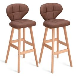 Set of 2 Brown Bar Stools Pub Chair Fabric