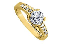 Cubic Zirconia Solitaire Engagement Ring in Yellow Gold