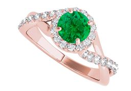 Criss Cross Design Halo Ring with CZ and Emerald