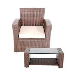 Innovex Home Products 2 Piece Prima Outdoor Patio Furniture, Single Chair and Coffee Table - Auburn
