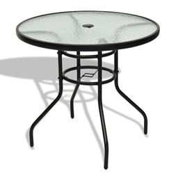 32 Patio Tempered Glass Steel Frame Round Table""