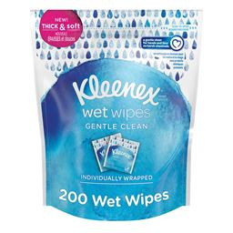 Kleenex Wet Wipes Gentle Clean for Hands and Face, Individually Wrapped 200 tota