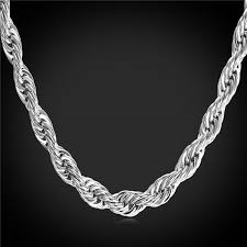 14k White Gold Filled Rope Chain 6MM