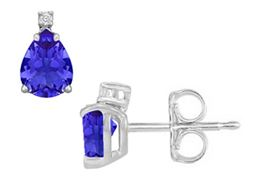 Cubic Zirconia and Created Tanzanite Stud Earrings 925 Sterling Silver 2.04 CT TGW