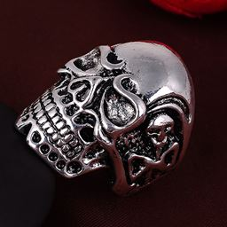 Punk Vintage Trend Men's Ring Gothic Men Skull Flower Biker Zinc Alloy Ring - 8, sa1054