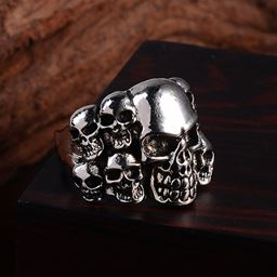 Punk Vintage Trend Men's Ring Gothic Men Skull Flower Biker Zinc Alloy Ring - 11, sa978