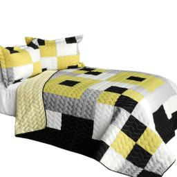 Bee's Garden 3PC Brand New Vermicelli-Quilted Patchwork Quilt Set Full/Queen