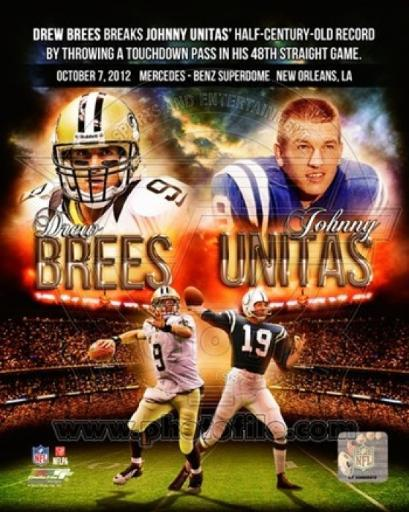 Drew Brees breaks Johnny Unitas' half-century-old record October 7, 2012 Sports Photo