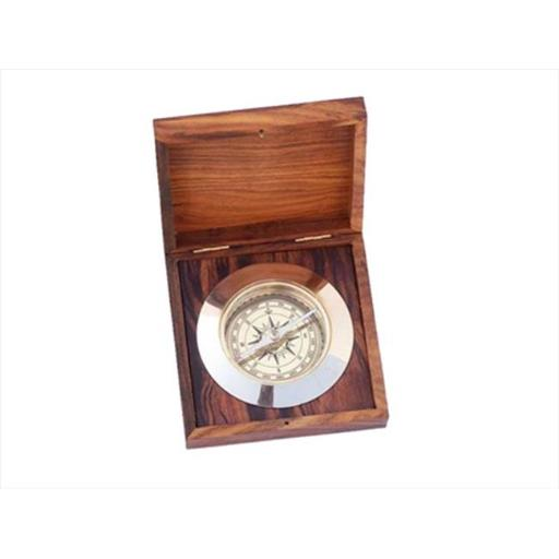 Solid Brass Admirals Desk Compass With Rosewood Box 5 in. Compasses Decorative Accent