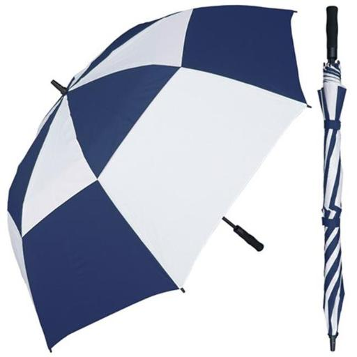 68 in. Auto Open Huge Navy & White Wind Buster Golf Umbrella with Foam Handle, 3 Piece