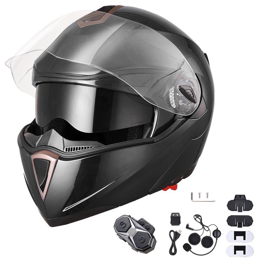 AHR DOT Full Face Flip Up Modular Motorcycle Helmet 2 Visor Bluetooth Headset L