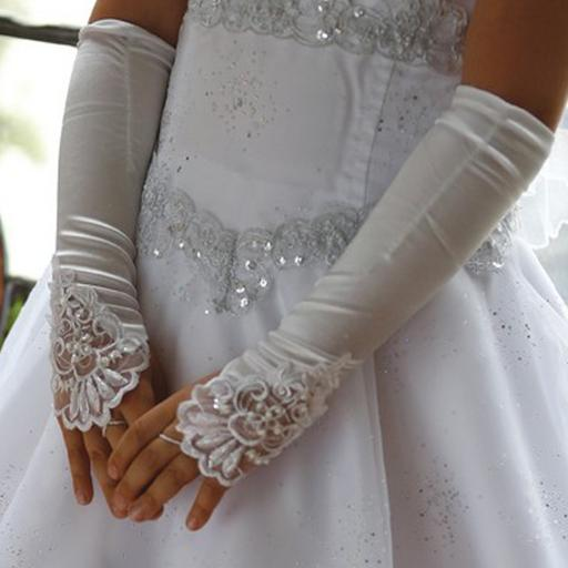 Angels Garment Big Girls White Long Fingerless Special Occasion Gloves 8-16
