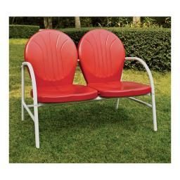 Crosley Griffith Metal Loveseat in Red Finish