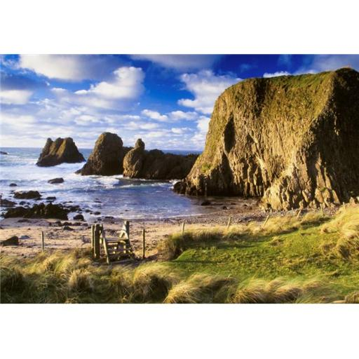 Posterazzi DPI1825634 Ballintoy County Antrim Ireland - Beach Scenic with Cliff Poster Print by The Irish Image Collection, 18 x 12
