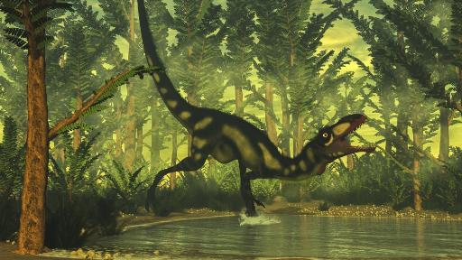 Dilong dinosaur running toward a pond in a pachypteris forest with onychiopsis plants Poster Print