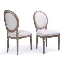 Belleze Set of (2) Classic Elegant Traditional Upholstered Linen Round Back Dining Chairs w/ Solid Wood Legs, Beige