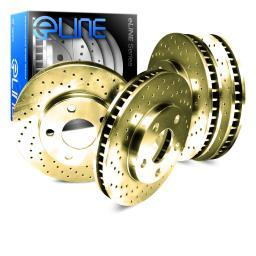 [FRONT+REAR] ELINE Gold Edition Cross-Drilled  Brake ROTORS DISC CGX.66036.01