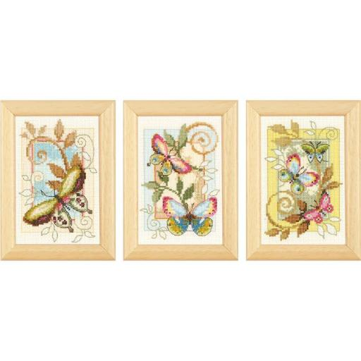 Vervaco V0155948 3 x 4.5 in. Deco Butterflies Minitures On Aida Counted Cross Stitch Kit, 18 Count