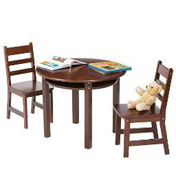 Lipper 524e rnd table chair set espresso