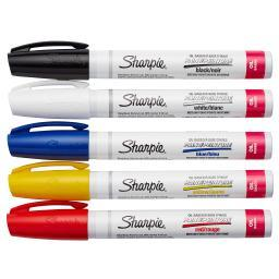 Sharpie Medium Point Oil-Based Paint Markers 5/Pkg-Black, Blue, Yellow, Red And White