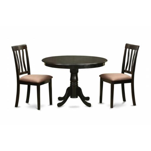 East West Furniture HLAN3-CAP-C 3 Piece Kitchen Nook Dining Set-Round Kitchen Table and 2 Slatted Back Kitchen Chairs