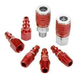 Colorconnex a73457d colorconnex coupler  plug kit type d 1/4in npt 1/4in body red 7 pc