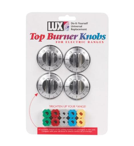 Lux Cpr405 Top Burner Knobs For Electric Ranges - Chrome