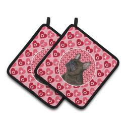 Carolines Treasures SS4519PTHD French Bulldog Hearts Love & Valentines Day Portrait Pair of Pot Holders, 7.5 x 3 x 7.5 in. SS4519PTHD