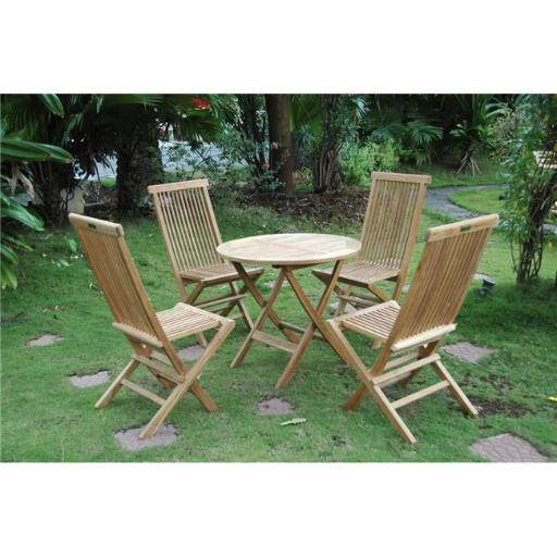 Anderson Teak Set-108B 31 in. Windsor Round Picnic Folding Table