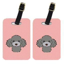 Carolines Treasures BB1259BT Pair Of Checkerboard Pink Silver Gray Poodle Luggage Tags