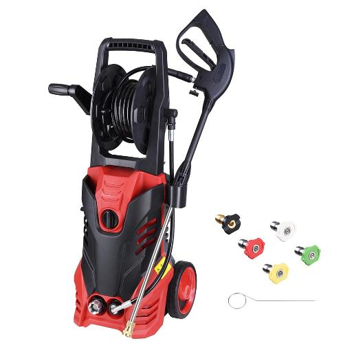 Yescom 3000PSI 1.9GPM Electric Power Pressure Washer with 5 Nozzles Built-in Soap Tank Hose Reel