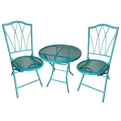 Courtyard Creations 227699 Four Seasons Avalon Bistro Set with Chair & Table, Teal - 3 Piece