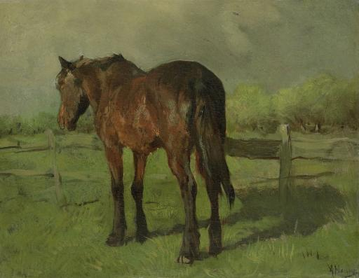 Horse, By Anton Mauve, 1860-88, Dutch Painting, Oil On Canvas. An Old Horse Standing In A Fenced Pasture. Poster Print